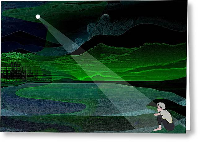 Lonelyness Greeting Cards - 034 - Moonlight Lonelyness   Greeting Card by Irmgard Schoendorf Welch
