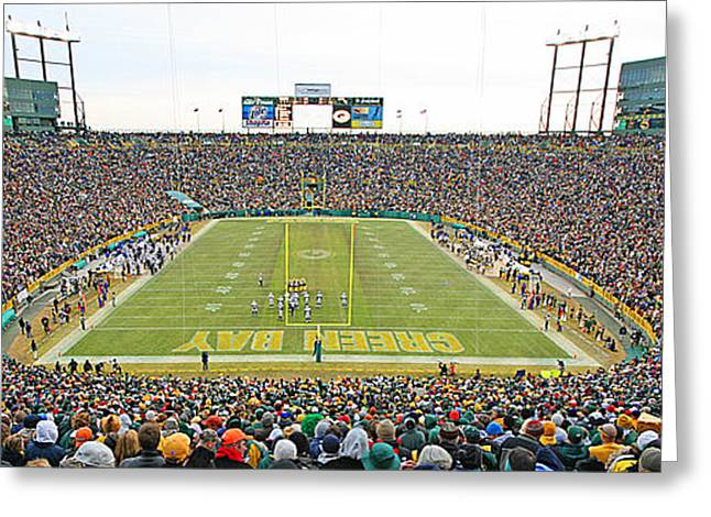 Lambeau Field Photographs Greeting Cards - 0349 Lambeau Field Panoramic Greeting Card by Steve Sturgill