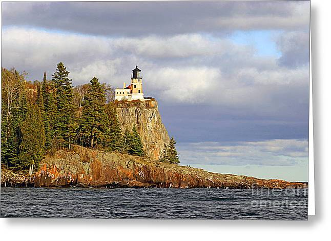 North Shore Greeting Cards - 0376 Split Rock Lighthouse Greeting Card by Steve Sturgill