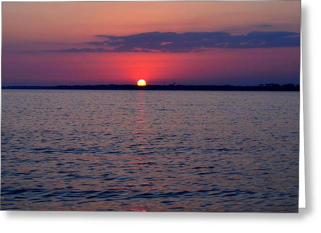Navarre Beach Photographs Greeting Cards - 0428 Cloudy Red Sunset on Santa Rosa Sound Greeting Card by Jeff at JSJ Photography