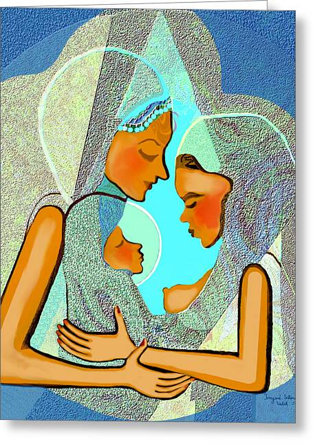 Pastell Greeting Cards - 043 - Take Care Of The Child Greeting Card by Irmgard Schoendorf Welch
