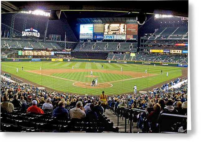 Urban Sport Greeting Cards - 0434 Safeco Field Panoramic Greeting Card by Steve Sturgill