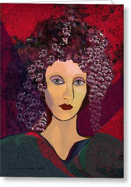 Curled Hair Greeting Cards - 045 -  Woman with green dress.... Greeting Card by Irmgard Schoendorf Welch