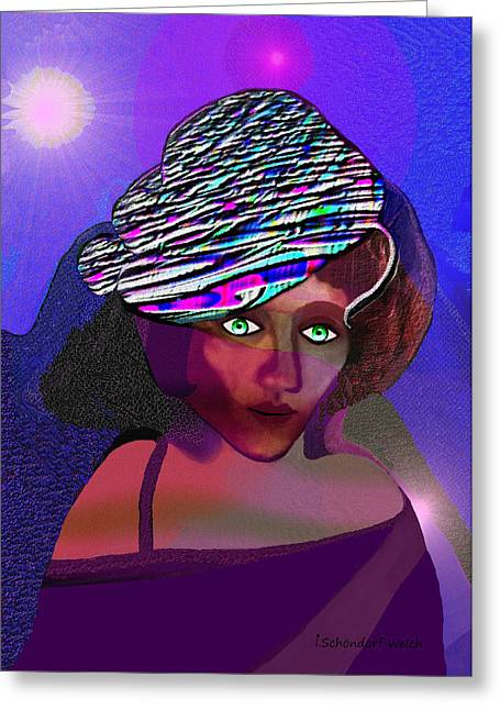 Young Lady Greeting Cards - 049 - She came at Midnight  Greeting Card by Irmgard Schoendorf Welch