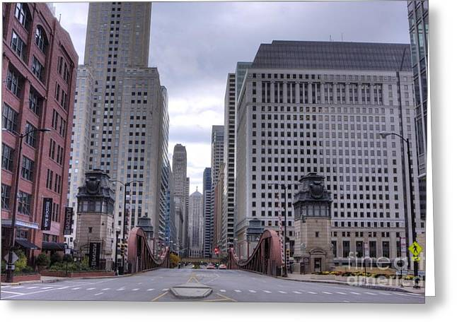 Lasalle Street Greeting Cards - 0500 LaSalle Street Bridge Chicago Greeting Card by Steve Sturgill