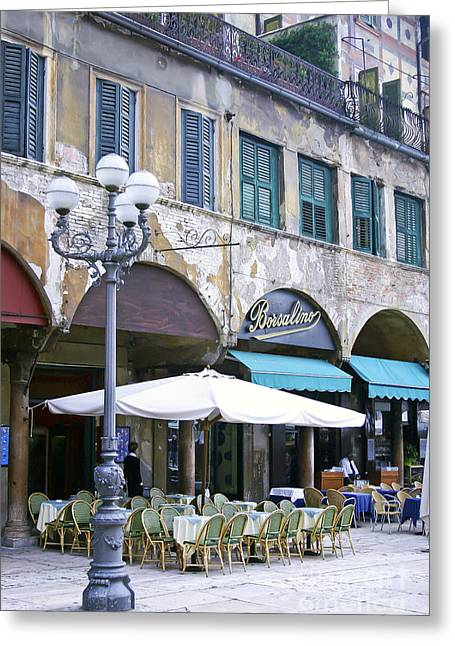 Italian Cafe Greeting Cards - 0507 Verona Cafe II Greeting Card by Steve Sturgill