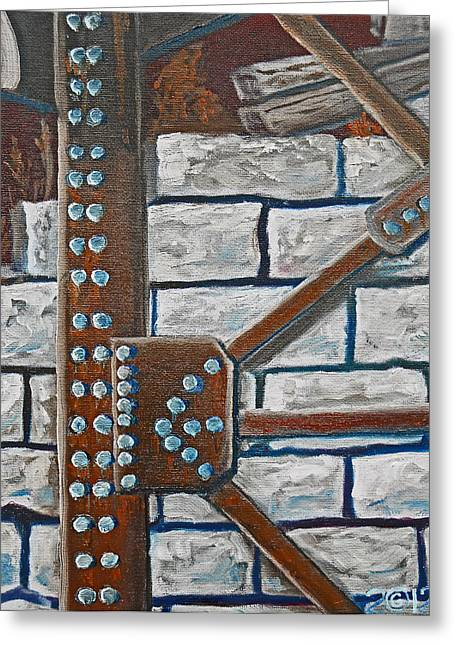 Rivets Paintings Greeting Cards - 052  Rivetered Too Greeting Card by Gregory Otvos