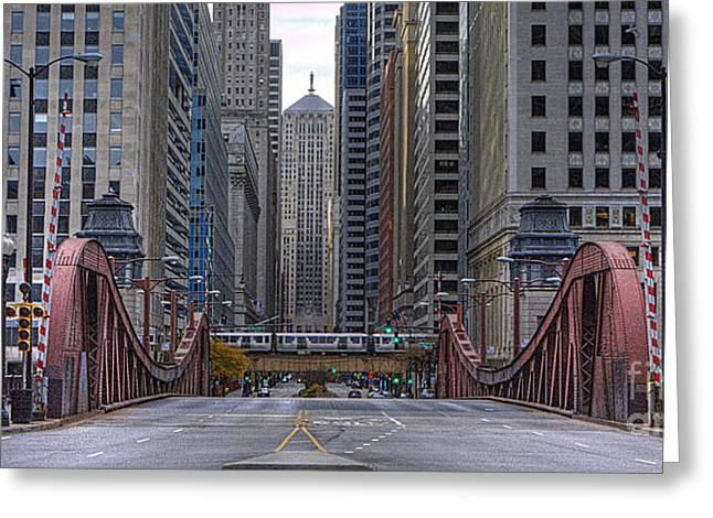 Lasalle Street Greeting Cards - 0524 LaSalle Street Bridge Chicago Greeting Card by Steve Sturgill
