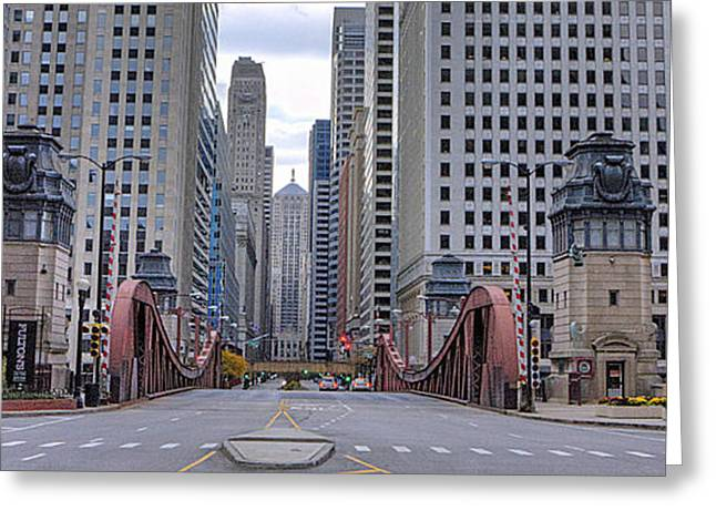 Lasalle Street Greeting Cards - 0525 LaSalle Street Bridge Chicago Greeting Card by Steve Sturgill