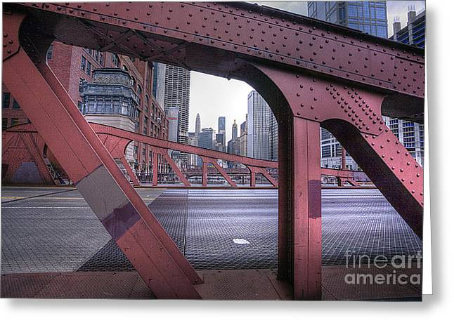 Lasalle Street Greeting Cards - 0528 LaSalle Street Bridge Chicago Greeting Card by Steve Sturgill