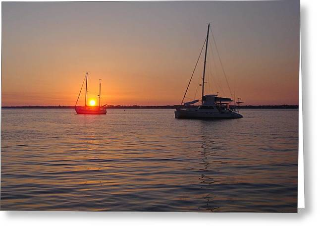 Navarre Beach Photographs Greeting Cards - 0529 Sunset with Two Sailboats Greeting Card by Jeff at JSJ Photography