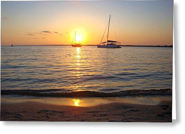 Navarre Beach Photographs Greeting Cards - 0531 Sailboats at Sunset on Sound Greeting Card by Jeff at JSJ Photography