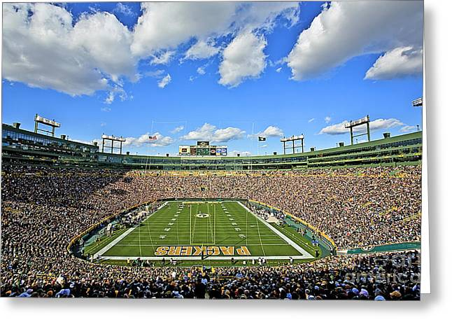 Green Greeting Cards - 0538 Lambeau Field  Greeting Card by Steve Sturgill