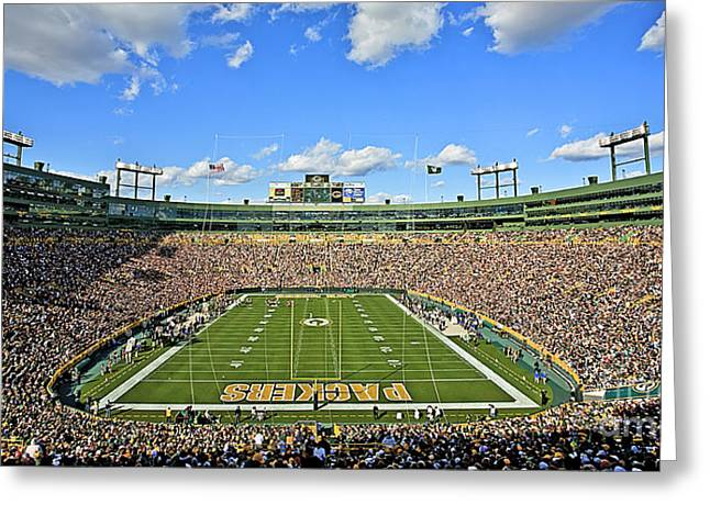 Sports Arenas Greeting Cards - 0539 Lambeau Field Greeting Card by Steve Sturgill