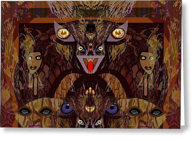 054 - Demons  Greeting Card by Irmgard Schoendorf Welch