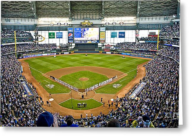 Miller Park Greeting Cards - 0546 NLDS Miller Park Milwaukee Greeting Card by Steve Sturgill