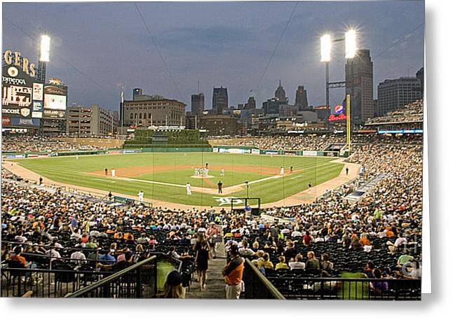 Tiger Stadium Greeting Cards - 0555 Comerica Park Detroit Greeting Card by Steve Sturgill