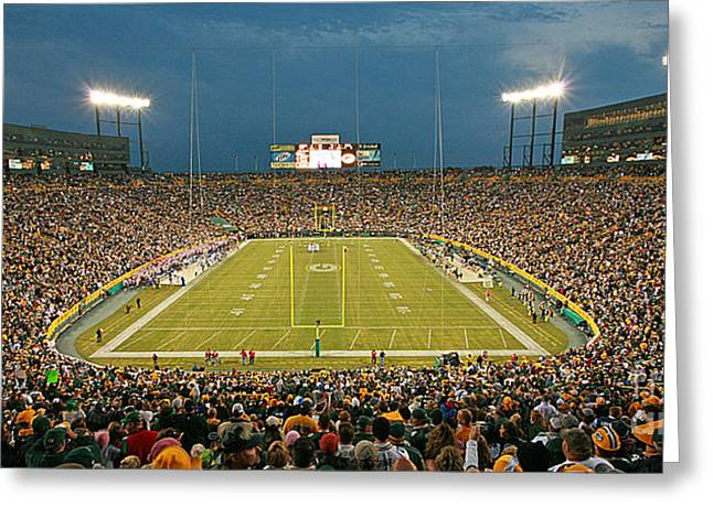 Lambeau Field Greeting Cards - 0614 Prime Time at Lambeau Field Greeting Card by Steve Sturgill