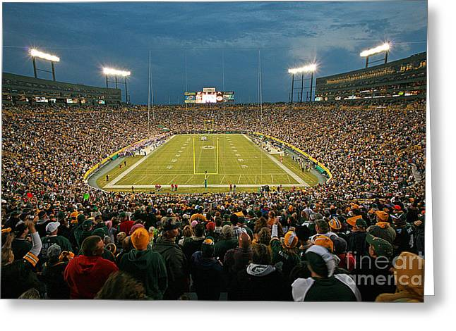 Lambeau Field Photographs Greeting Cards - 0615 Prime Time at Lambeau Field Greeting Card by Steve Sturgill