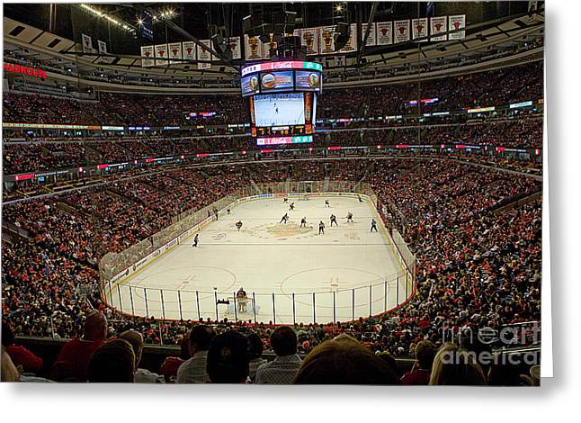 Sports Arenas Greeting Cards - 0616 The United Center - Chicago Greeting Card by Steve Sturgill