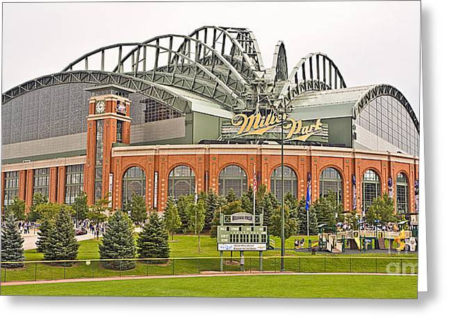 Miller Park Greeting Cards - 0621 Milwaukees Miller Park Greeting Card by Steve Sturgill