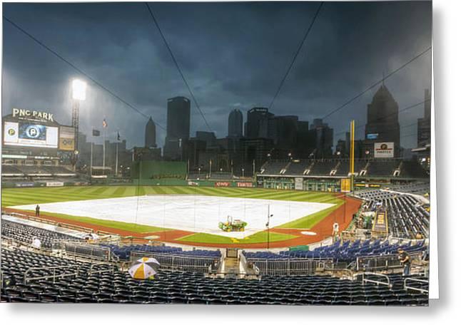 Pennsylvania Baseball Parks Greeting Cards - 0646 Rain Delay - PNC Park Pittsburgh Greeting Card by Steve Sturgill