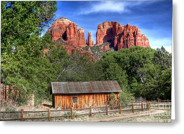 Cathedral Rock Greeting Cards - 0682 Red Rock Crossing - Sedona Arizona Greeting Card by Steve Sturgill