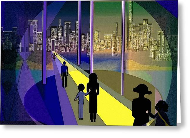 Little Boy Digital Greeting Cards - 070 - Nightwalking to the golden city    Greeting Card by Irmgard Schoendorf Welch