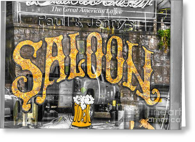 Saloons Greeting Cards - 0701 Saloon WIndow - Selective Color Greeting Card by Steve Sturgill