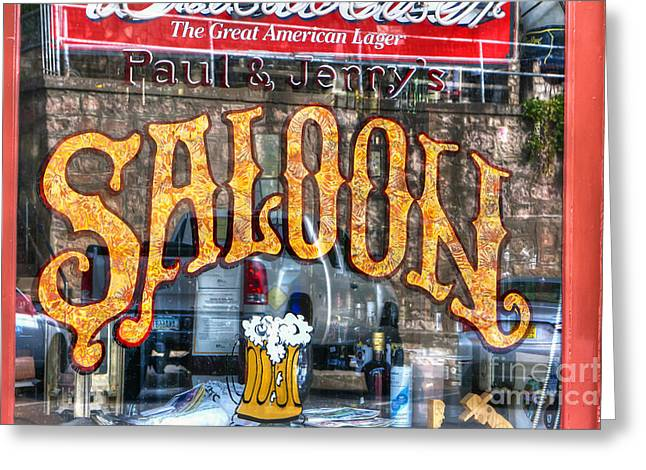 Saloons Greeting Cards - 0702 Saloon WIndow Greeting Card by Steve Sturgill