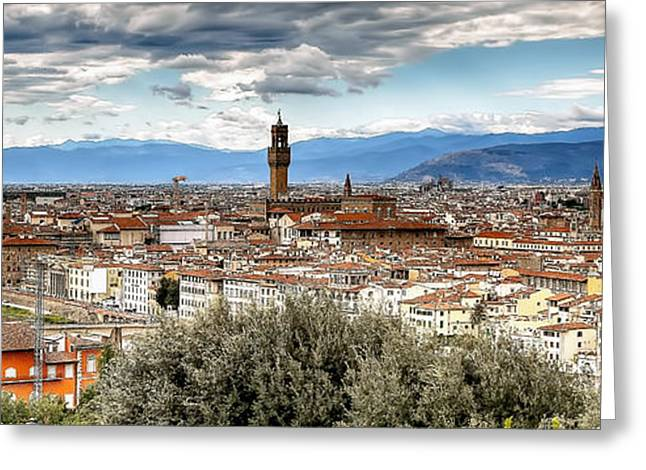 Florence Greeting Cards - 0752 Florence Italy Panoramic Greeting Card by Steve Sturgill