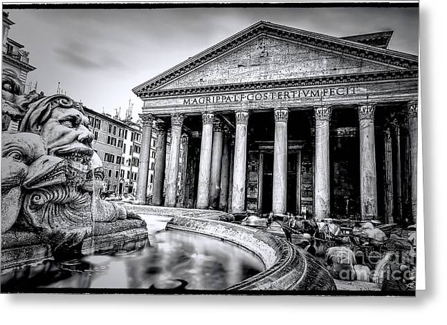 Rome Greeting Cards - 0786 The Pantheon Black and White Greeting Card by Steve Sturgill