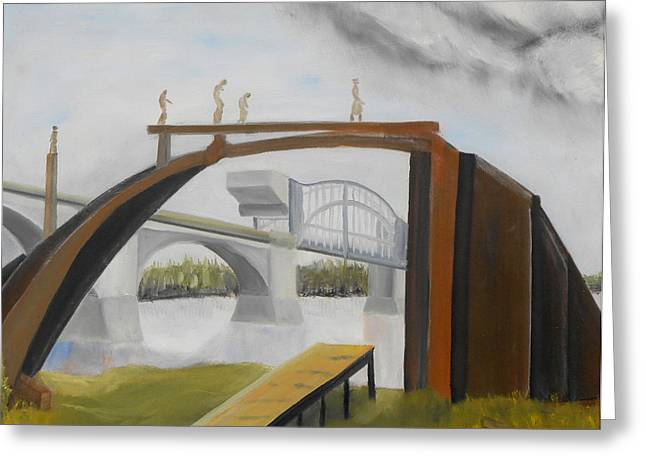 Tennessee River Paintings Greeting Cards - 079 Freedoms Bridge Greeting Card by Gregory Otvos