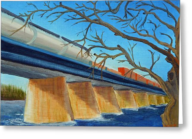Tennessee River Paintings Greeting Cards - 080  RIver Train Greeting Card by Gregory Otvos