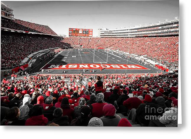 Athletic Sport Greeting Cards - 0811 Camp Randall Stadium Greeting Card by Steve Sturgill