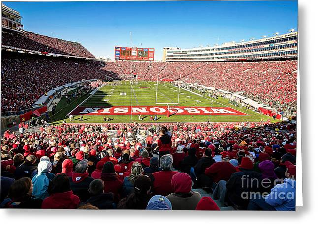Athletic Sport Greeting Cards - 0814 Camp Randall Stadium Greeting Card by Steve Sturgill