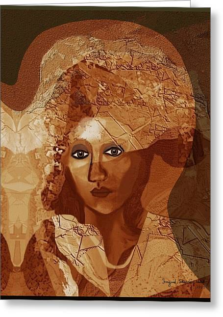 Collar Digital Art Greeting Cards - 085 -  Romantic bride  ... Greeting Card by Irmgard Schoendorf Welch
