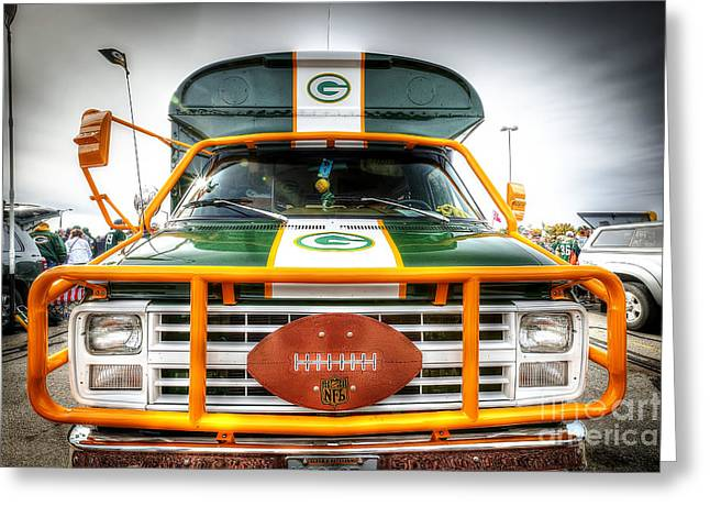 Lambeau Field Greeting Cards - 0852 Packer Truck Greeting Card by Steve Sturgill