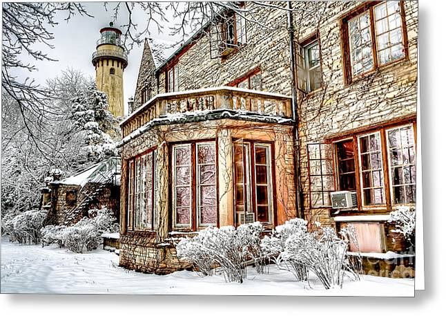 Evanston Greeting Cards - 0871 Grosse Point Lighthouse - Evanston Illinois Greeting Card by Steve Sturgill