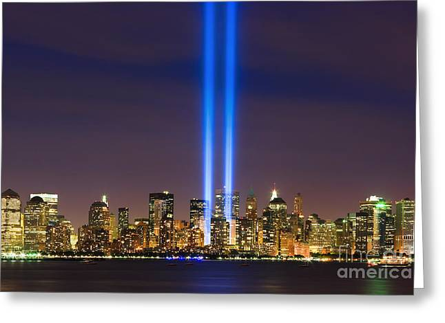 Nine Eleven Greeting Cards - 09/11 - Tribute in Light Greeting Card by Henk Meijer Photography