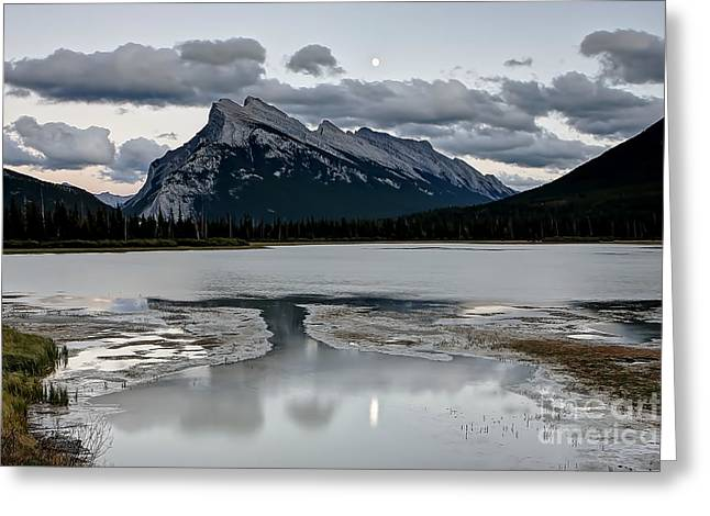 Rundle Greeting Cards - 0905 Moon Over Rundle Mountain Greeting Card by Steve Sturgill