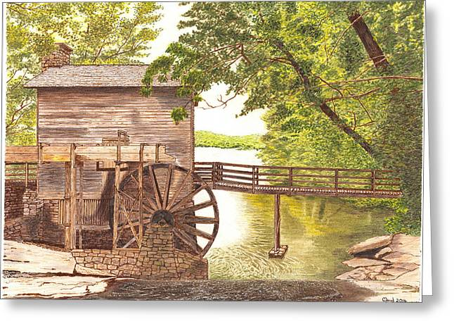Grist Mill Mixed Media Greeting Cards -  600- 2 Greeting Card by Cloud Farrow