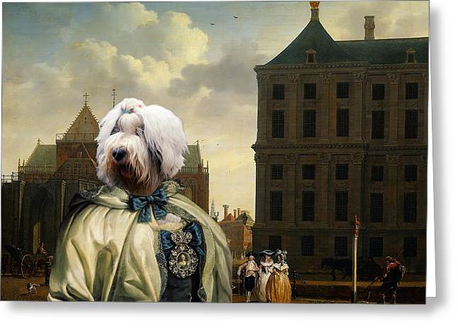 Bobtails Greeting Cards -  Bobtail - Old English Sheepdog Art Canvas Print Greeting Card by Sandra Sij