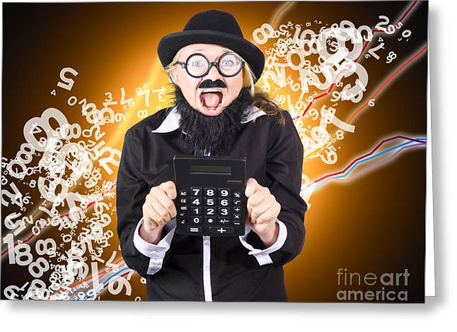 Clever Greeting Cards -  Businessman showing financial investment gain Greeting Card by Ryan Jorgensen