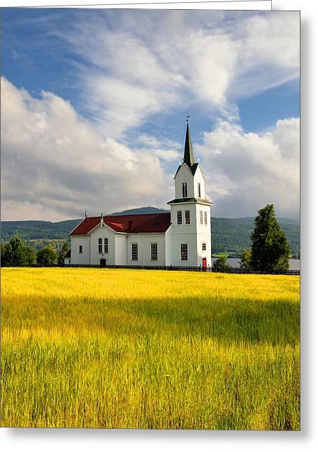 Alga Greeting Cards -  church in small town of Norway Greeting Card by Jan Sieminski