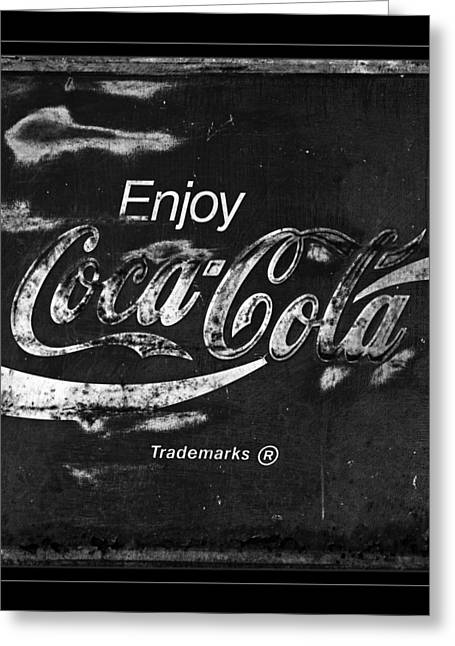 Closeup Coke Sign Greeting Cards -  Coca Cola Sign Black and White Greeting Card by John Stephens