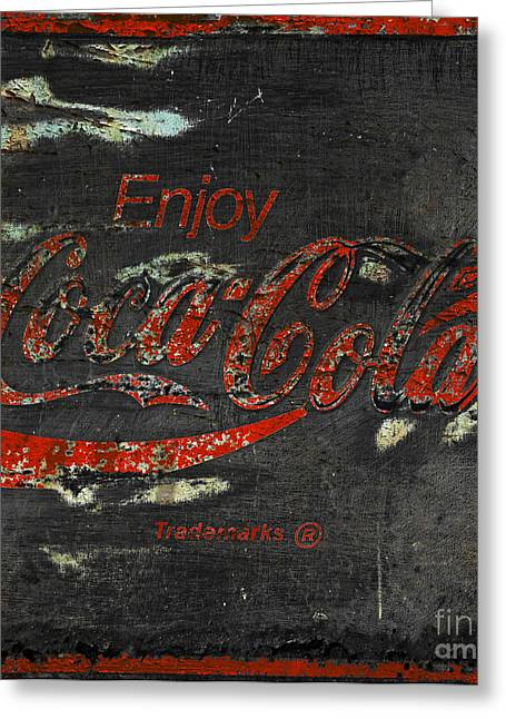 Closeup Coca Cola Sign Greeting Cards -  Coca Cola Sign Grungy  Greeting Card by John Stephens