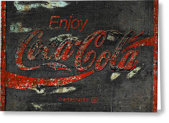Vintage Coca Cola Sign Greeting Cards -  Coca Cola Sign Grungy  Greeting Card by John Stephens