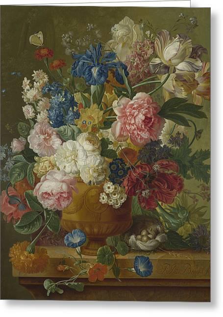 Flowers In A Vase Greeting Card by Paulus Theodorus van Brussel