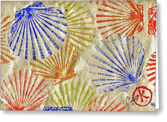 Gyotaku Greeting Cards -  Gyotaku Scallops - Bivalvify - Seafood Melody Greeting Card by Jeffrey Canha